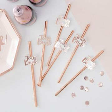 Team Bride Rose Gold Paper Drinking Straws - pack of 16